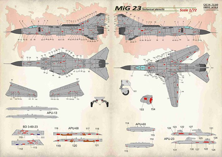 Print Scale Decals 1/72 Mikoyan MiG-23 Technical Stencils # 72349