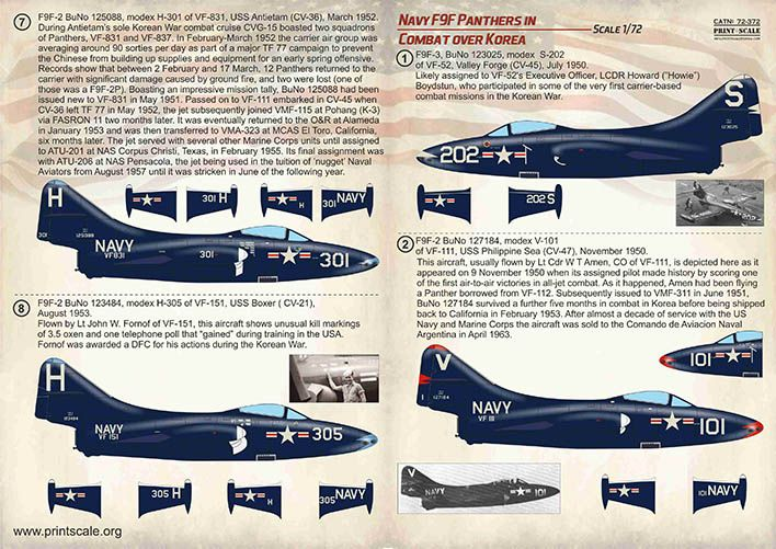 Print Scale Decals 1/72 Navy Grumman F9F-2/F9F-3 Panthers in Combat over Korea # 72372
