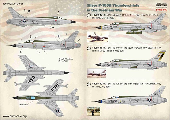 Print Scale Decals 1/72 Silver Republic F-105D Thunderchiefs in the Vietnam War # 72352