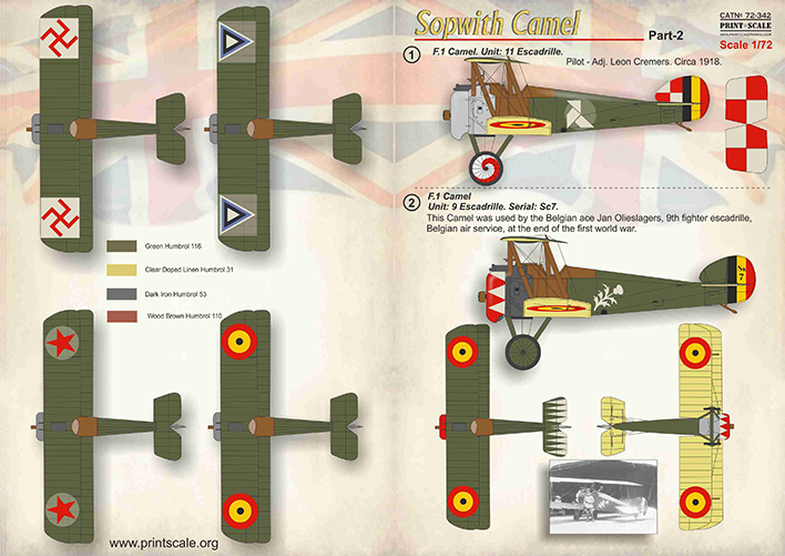 Print Scale Decals 1/72 Sopwith Camel Part 2 # 72342