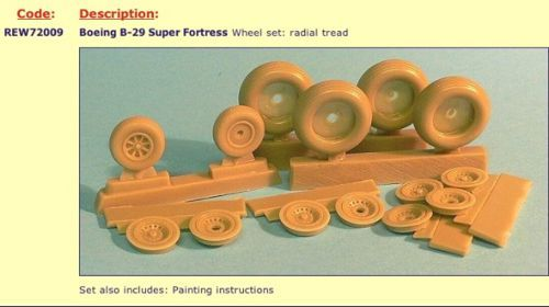 Radial Engines and Wheels 1/72 B-29 Superfortress Wheels Set Rad