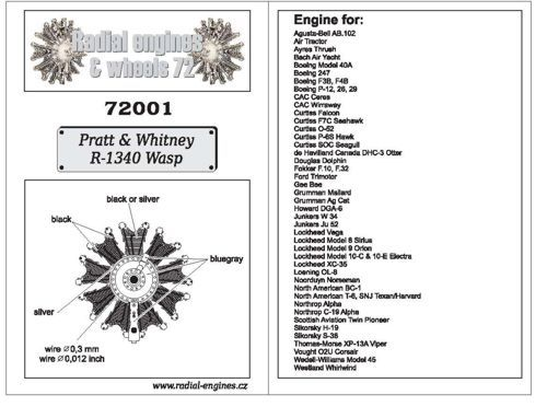 Radial Engines and Wheels 1/72 Pratt & Whitney R-1340 Wasp engin