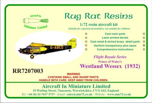 Rug Rat Resins 1/72 Westland Wessex - Prince Of Wales Aircraft # RR7207003