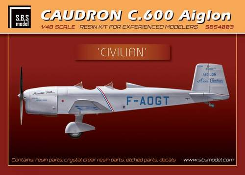 SBS Model 1/48 Caudron C.600 'Civilian' with Etched Parts & Decal # 4003