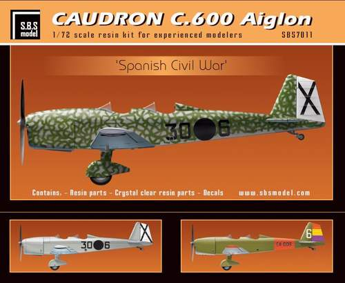 SBS Model 1/72 Caudron C.600 Aiglon 'Spanish Civil War' # K7011