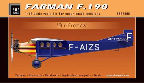 SBS Model 1/72 Farman F.190 'Air France' # K7008