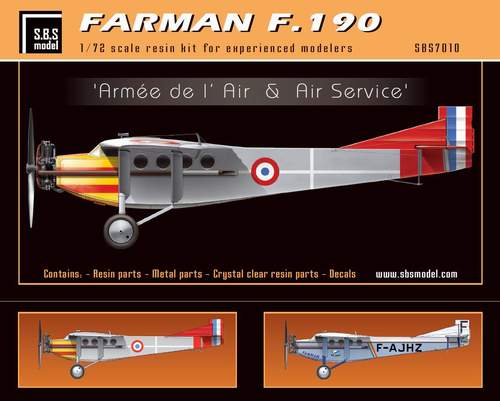 SBS Model 1/72 Farman F.190 'Armee de l'Air & Air Service' # K7010