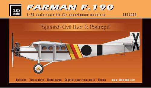 SBS Model 1/72 Farman F.190 'Spanish Civil War & Portugal' # K7009