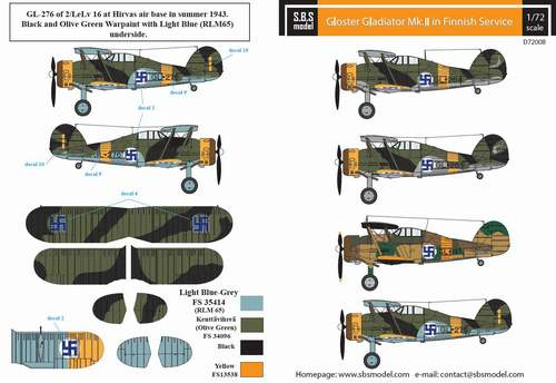 SBS Model 1/72 Gloster Gladiator Mk.II Finnish Air Force WWII # D7208D