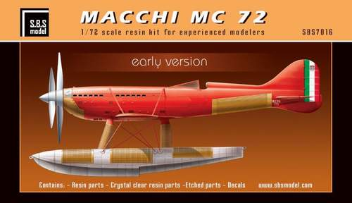 SBS Model 1/72 Macchi MC.72 'Early Version' # K7016