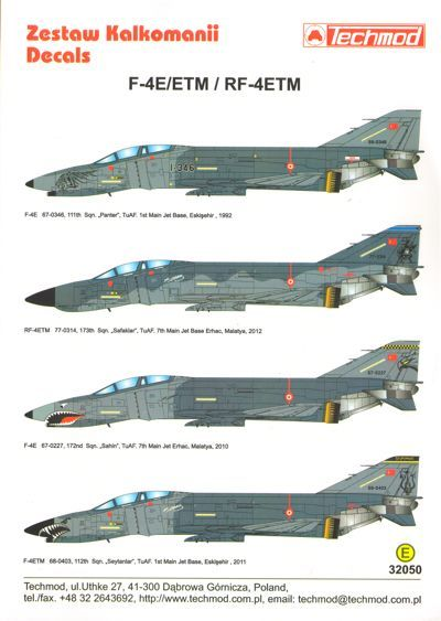 Techmod Decals 1/32 McDonnell F-4E/ETM RF-4E/ETM Phantom II Turkish Air Force # 32050