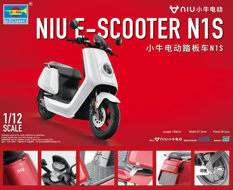 Trumpeter 1/12 NIU E-Scooter N1S (Pre-Painted) Model Kit # 07305