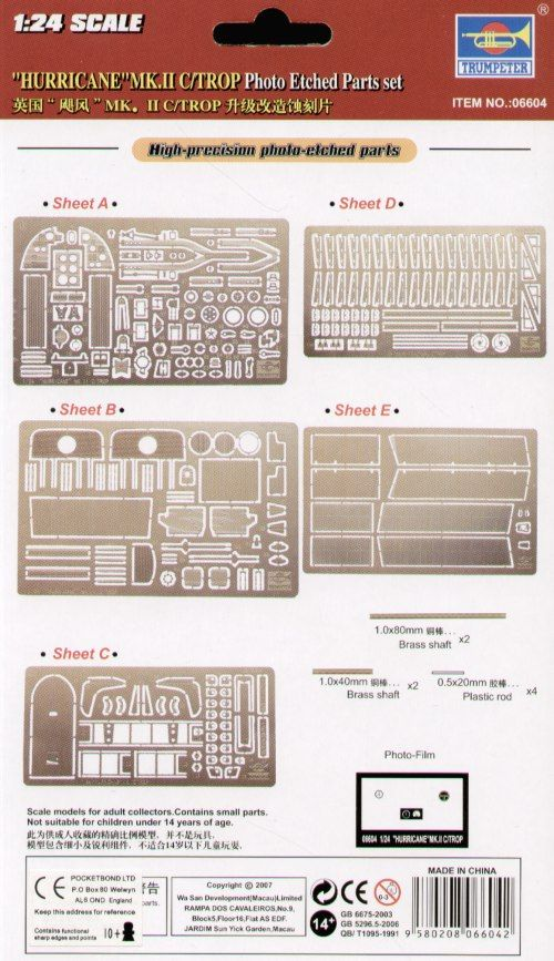 Trumpeter 1/24 Hawker Hurricane IIC/Trop. Etched Parts # 06604