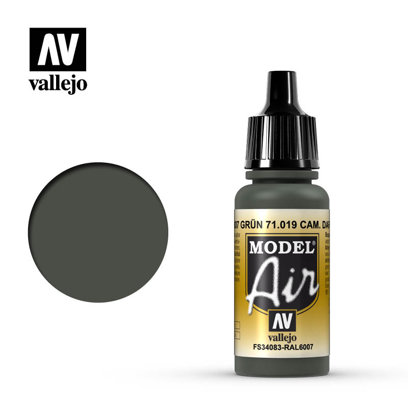 Vallejo 17ml Model Air - Camouflage Dark Green acrylic paint # 019