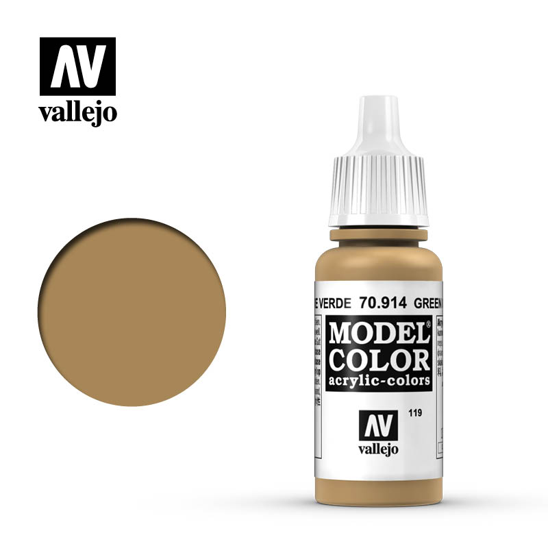 Vallejo 17ml Model Color - Green Ochre acrylic paint # 914