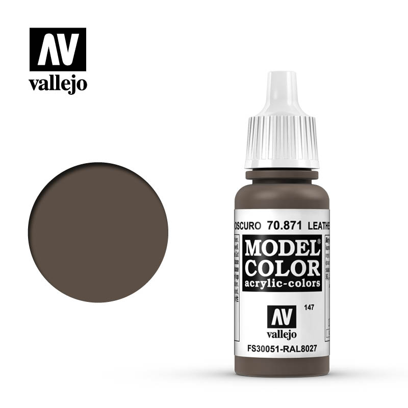 Vallejo 17ml Model Color - Leather Brown acrylic paint # 871