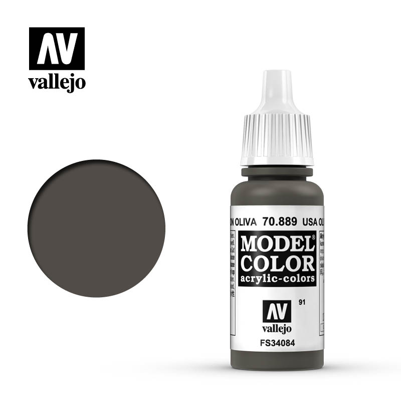 Vallejo 17ml Model Color - US Olive Drab acrylic paint # 889