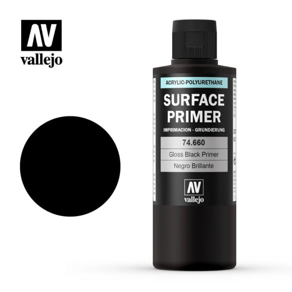 Vallejo 200ml Gloss Black Surface Primer # 74660