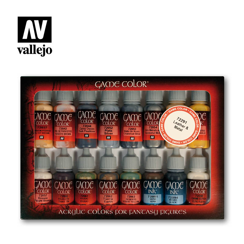 Vallejo Game Color - Leather and Metal Paint Set # 72291