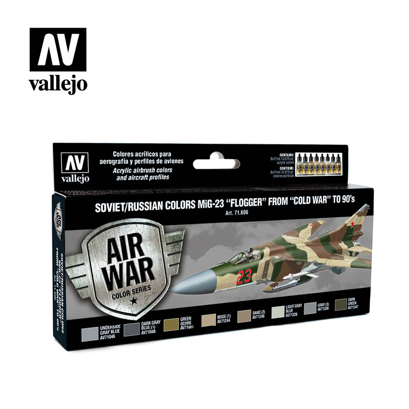 "Vallejo Model Air - Soviet MiG-23 ""Flogger"" from ""Cold War"" to 90's Acrylic Paint Set # 71606"