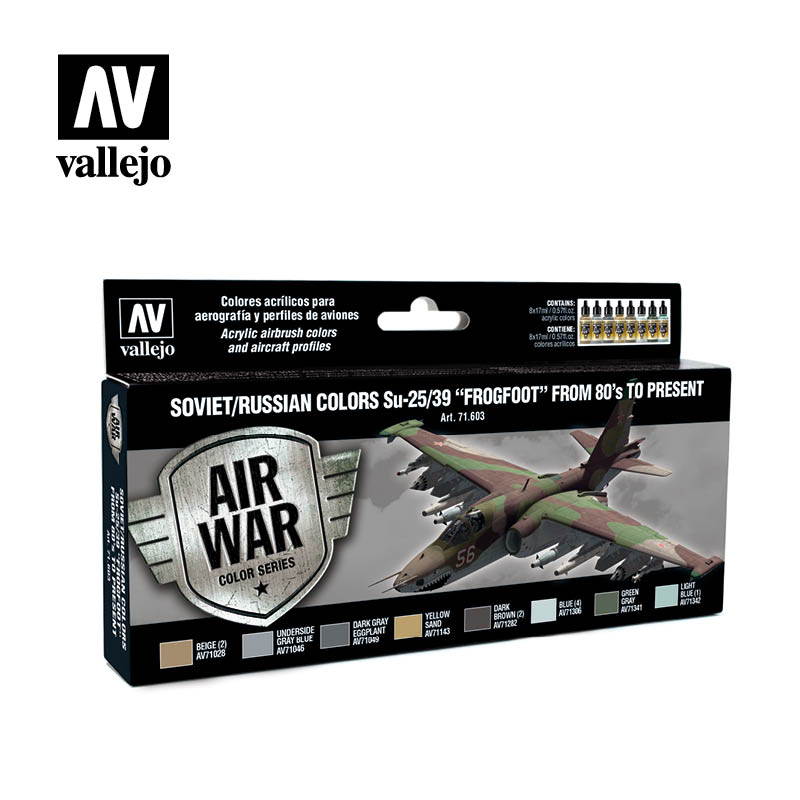 Vallejo Model Air - Soviet Su-25 Frogfoot 80's to Present Acrylic Paint Set # 71603