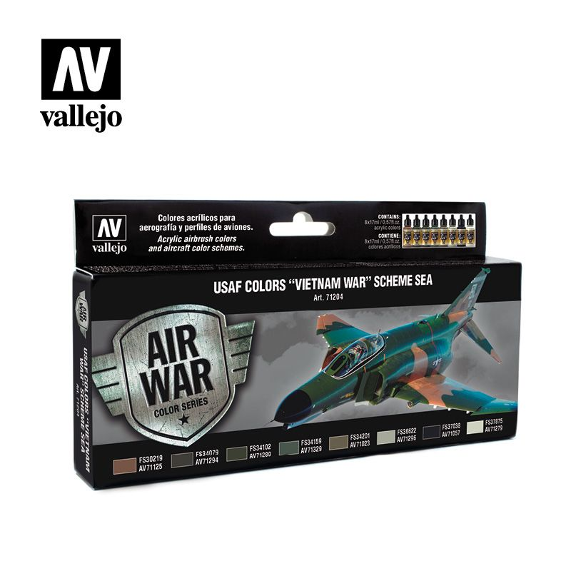 "Vallejo Model Air - USAF Colors ""Vietnam War"" Scheme South East Asia Acrylic Paint Set # 71204"