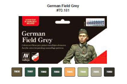 Vallejo Model Color - German Field Grey Uniform Paint Set # 7018