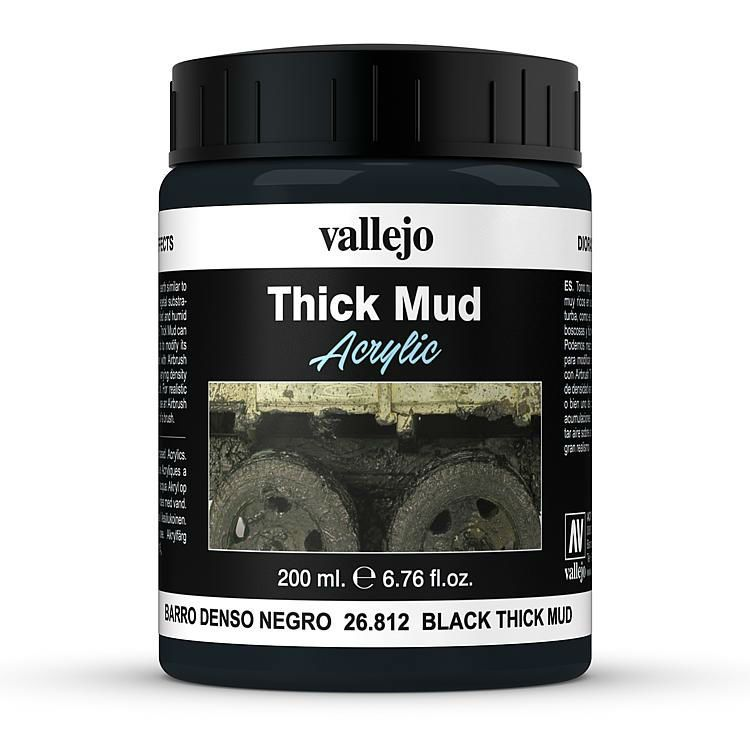 Vallejo Weathering Effects 200ml Black Thick Mud # 26812