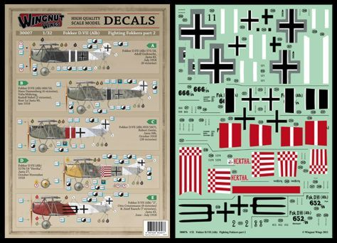 Wingnut Wings 1/32 Fokker D.VII (Alb) Fighting Fokkers Part 2 Decals # 30007