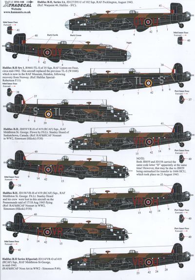 Xtradecal 1/72 Handley Page Halifax B.II versions # 72146