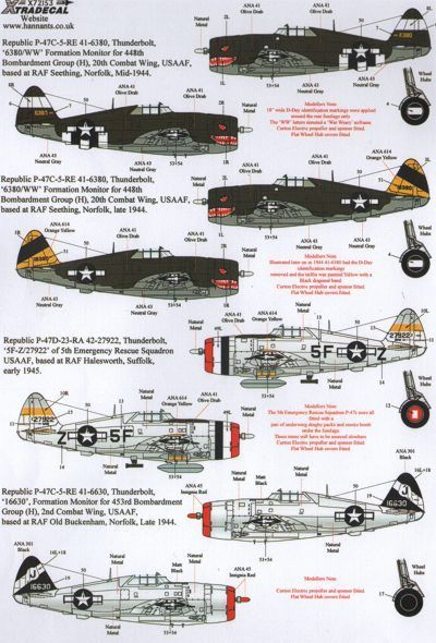 Xtradecal 1/72 Republic P-47D Thunderbolts # 72153