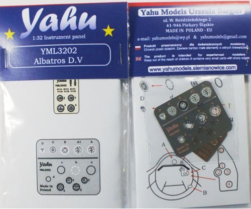 Yahu Models 1/32 Albatros D.V Photoetched Instrument Panels # YML3202