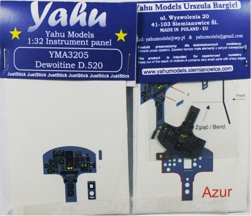 Yahu Models 1/32 Dewoitine D.520 Photoetched Instrument Panels # YMA3205
