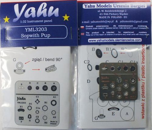 Yahu Models 1/32 Sopwith Pup Photoetched Instrument Panels # YML3203