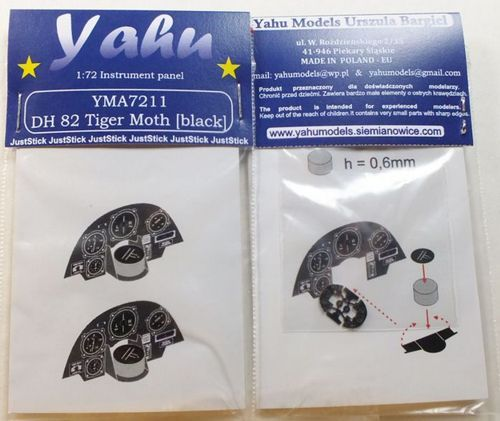 Yahu Models 1/72 DH.82A Tiger Moth x 2 Photoetched Instrument Panels # YMA7211