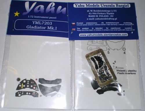 Yahu Models 1/72 Gloster Gladiator Mk.I Etched Instrument Panels # YML7203