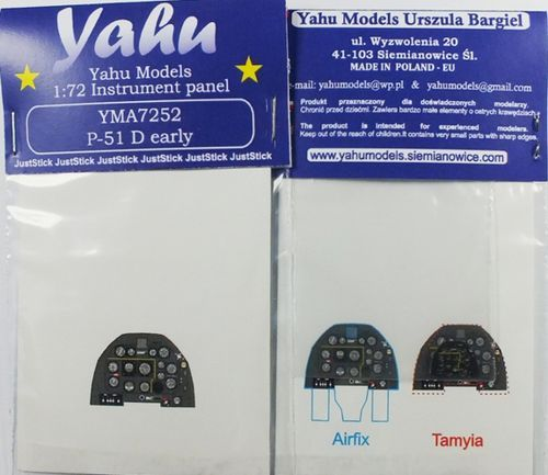 Yahu Models 1/72 North-American P-51DPhotoetched Instrument Panels # YMA7252