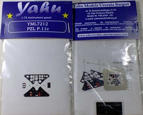 Yahu Models 1/72 PZL P.11C Etched Instrument Panels # YML7212