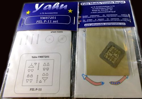 Yahu Models 1/72 PZL P.11C Etched Parts and Wheel Paint Masks # YMS7201