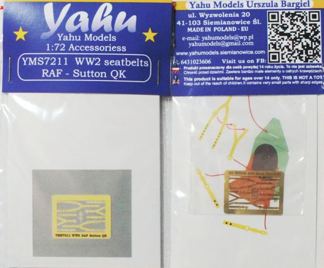 Yahu Models 1/72 WWII Seatbelts RAF Sutton QK # YMS7211