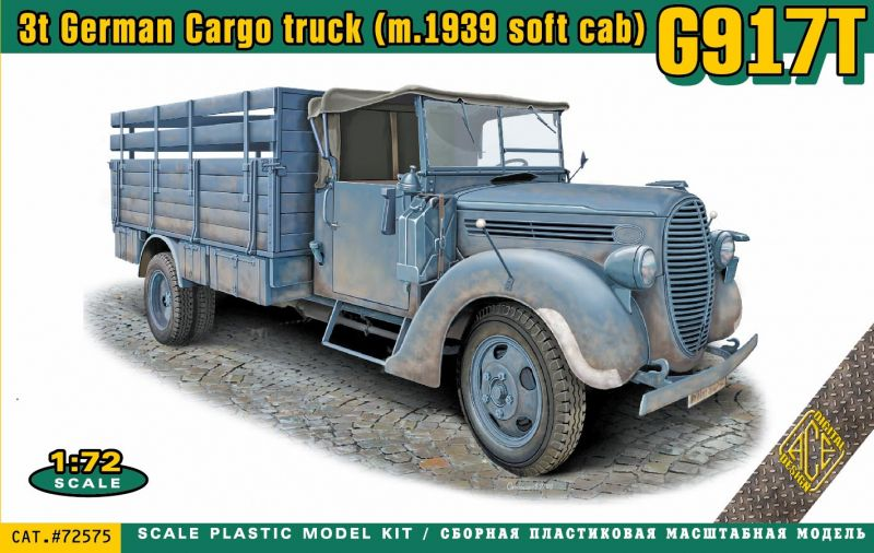 Ace 1/72 G917T 3t German Cargo Truck (m.1939 Soft Cab) # 72575