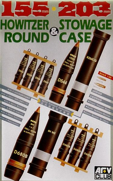 AFV Club 1/35 155mm and 203mm Howitzer Round & Stowage Case # AF35017