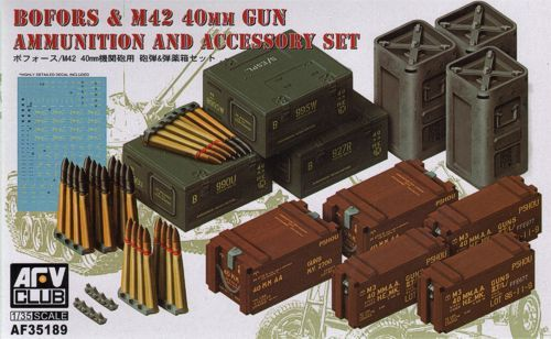 AFV Club 1/35 Bofors & M42 40mm Ammunition & Accessories Set # AF35189