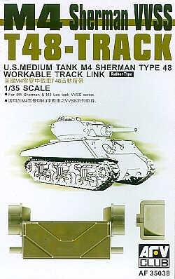 AFV Club 1/35 M4 Sherman VVSS T48 Workable Track (Rubber Type) # AF35038