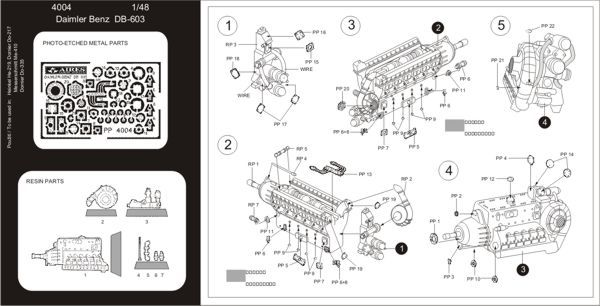 Aires 1/48  Daimler Benz DB 603 Engine # 4004