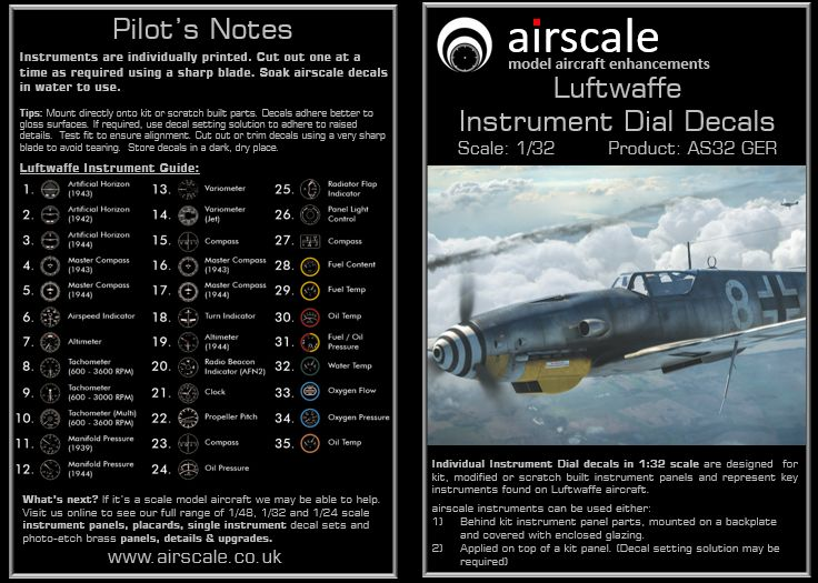 Airscale 1/32 Luftwaffe/German WWII Generic Instruments # AS32GER