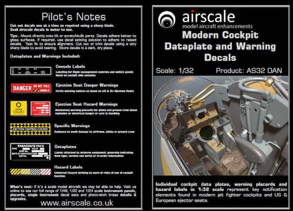 Airscale 1/32 Modern Cockpit Data & Warning Decals # AS32DAN
