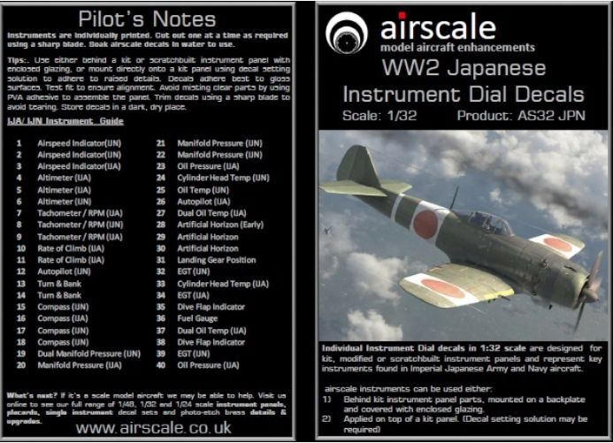 Airscale 1/32 WWII Japanese Cockpit Instrument Decals # AS32JPN
