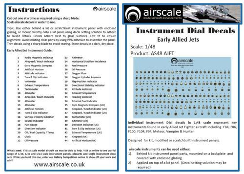 Airscale 1/48 Instrument Dial Decals for Early Allied Jets # AS48JETS