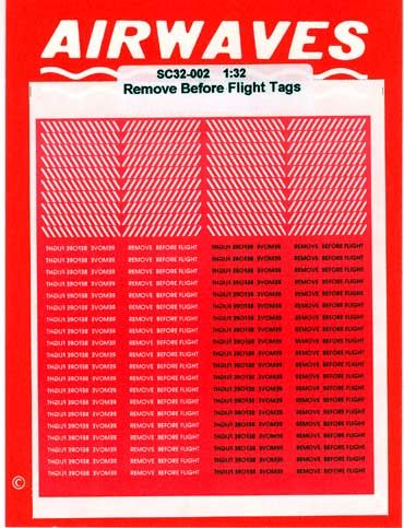 Airwaves 1/72 Remove Before Flight Tags 150 Paper Flags # AES72105